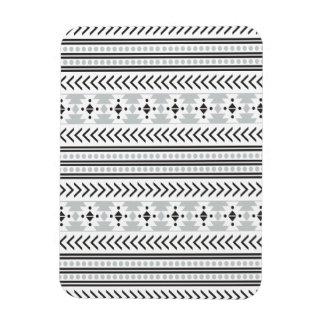 Trendy Aztec Tribal Print Geometric Pattern Gray Rectangular Photo Magnet