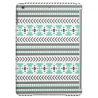 Trendy Aztec Tribal Print Geometric Pattern Green