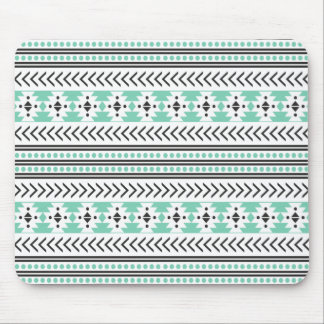 Trendy Aztec Tribal Print Geometric Pattern Green Mouse Mat