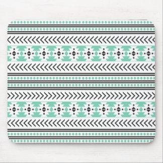 Trendy Aztec Tribal Print Geometric Pattern Green Mouse Pad