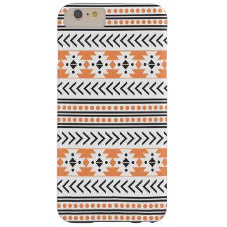 Trendy Aztec Tribal Print Geometric Pattern|Orange Barely There iPhone 6 Plus Case