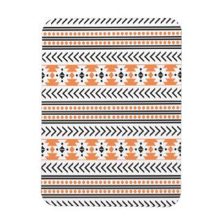 Trendy Aztec Tribal Print Geometric Pattern Orange Rectangular Photo Magnet