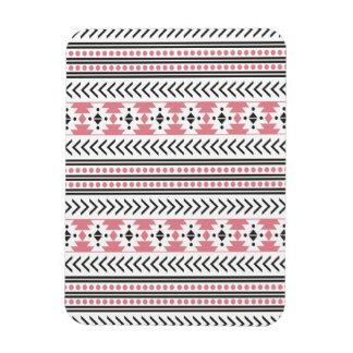 Trendy Aztec Tribal Print Geometric Pattern Pink Rectangular Photo Magnet