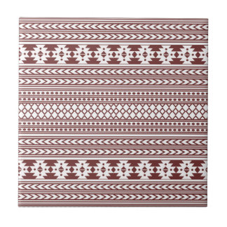 Trendy Aztec Tribal Print Geometric Pattern(Red) Ceramic Tile