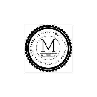 Trendy Badge | Custom Monogram Return Address Rubber Stamp