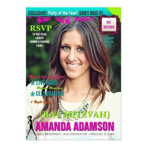 Trendy Bat Mitzvah Magazine Cover invitations