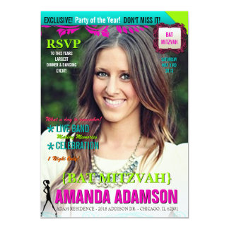 Trendy Bat Mitzvah Magazine Cover invitations