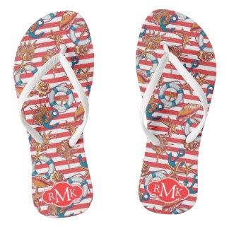 Trendy Beach Pattern | Monogram Flip Flops