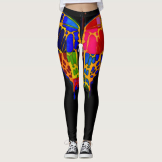Trendy Beautiful Butterfly On Black Leggings