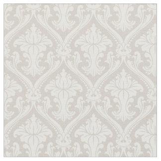 Trendy Beige Baroque Damask Pattern Fabric