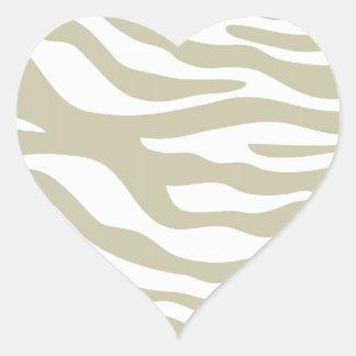 Trendy Beige Zebra Print Pattern Heart Sticker