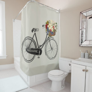 Trendy bicycle flower bike grey Shower curtain