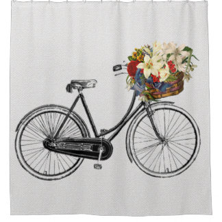 Trendy  bicycle 🚵 flower 🌺 bike Shower curtain