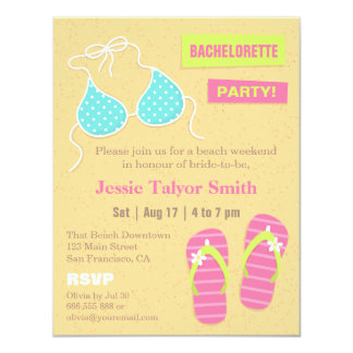 Trendy Bikini Beach Weekend Bachelorette Party Card