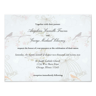 """Trendy Birdcages And Flowers Wedding Invite 4.25"""" X 5.5"""" Invitation Card"""