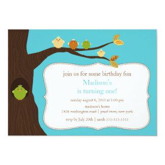 Trendy Birds Birthday Invitation