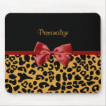 Trendy Black and Gold Leopard Print Red Ribbon Bow Mouse Mat