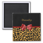 Trendy Black and Gold Leopard Print Red Ribbon Bow Square Magnet