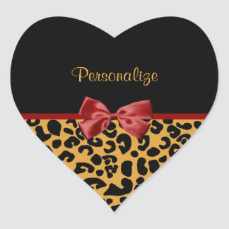 Trendy Black And Gold Leopard Print Red Ribbon Heart Sticker