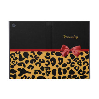 Trendy Black And Gold Leopard Print Red Ribbon iPad Mini Cases