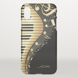 Trendy Black And Gold Music Notes Design iPhone X Case