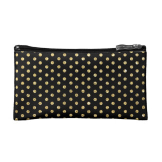 Trendy Black and Gold Polka-Dots Pattern Cosmetic Bag