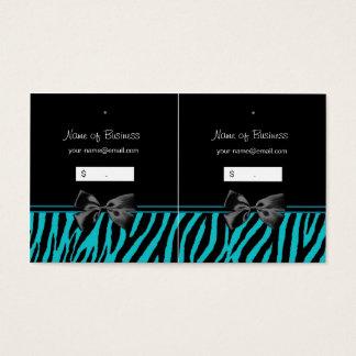 Trendy Black And Teal Zebra Print Hang Tags
