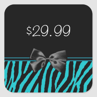 Trendy Black And Teal Zebra Print Price Tag