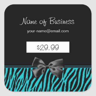 Trendy Black And Teal Zebra Print Price Tags
