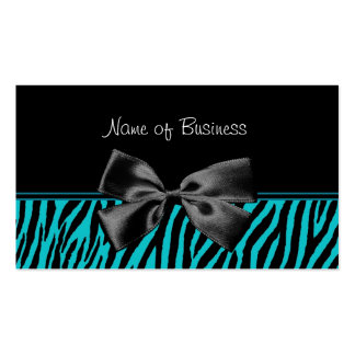 Trendy Black And Teal Zebra Print With Ribbon Pack Of Standard Business Cards