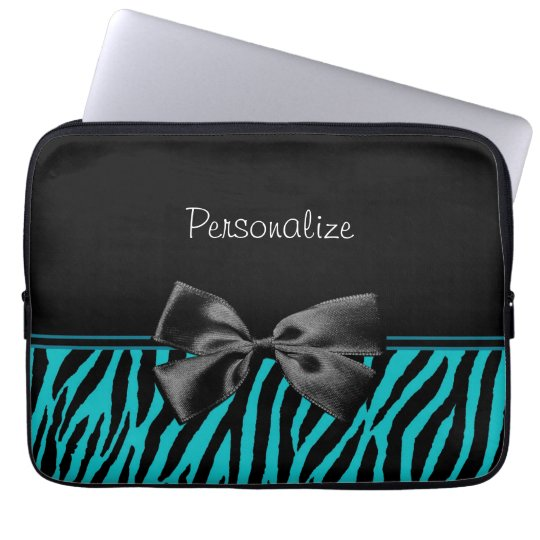 Trendy Black And Teal Zebra Print With Ribbon