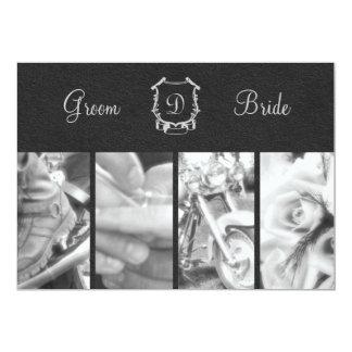 Trendy Black and White Biker Wedding Invitation