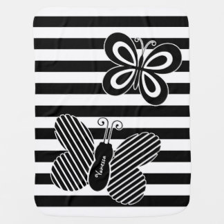 Trendy Black and White Butterfly Stripes With Name Baby Blanket