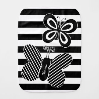 Trendy Black and White Butterfly Stripes With Name Burp Cloth