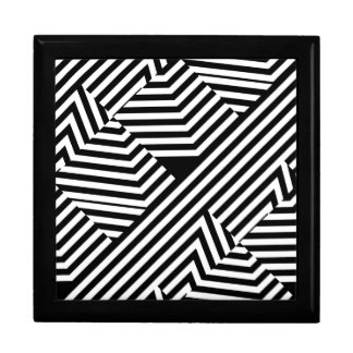 Trendy Black and White Geometric Stripes Pattern Gift Box