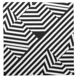 Trendy Black and White Geometric Stripes Pattern Napkin