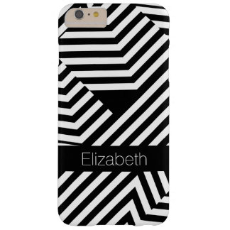 Trendy Black and White Geometric Stripes With Name Barely There iPhone 6 Plus Case