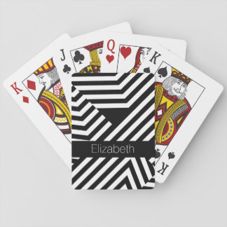 Trendy Black and White Geometric Stripes With Name Playing Cards