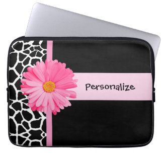 Trendy Black And White Giraffe Pink Daisy and Name Computer Sleeve