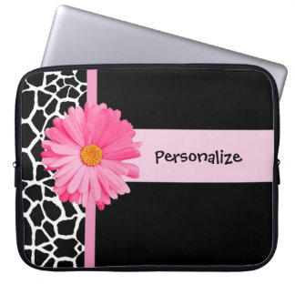 Trendy Black And White Giraffe Pink Daisy and Name Laptop Sleeves