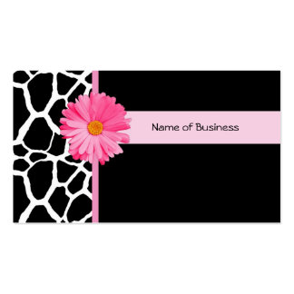 Trendy Black And White Giraffe With Pink Daisy Pack Of Standard Business Cards