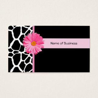 Trendy Black And White Giraffe With Pink Daisy Business Card