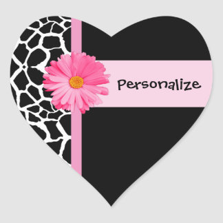 Trendy Black And White Giraffe With Pink Daisy Heart Sticker