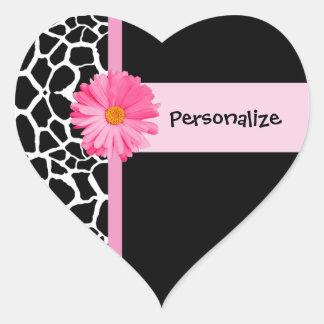 Trendy Black And White Giraffe With Pink Daisy Heart Sticker