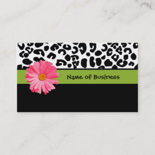 White leopard print business cards zazzle uk trendy black and white leopard print pink daisy business card reheart Image collections