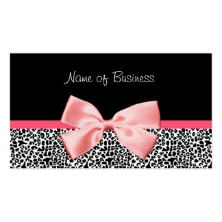 Trendy Black And White Leopard Print Pink Ribbon Pack Of Standard Business Cards