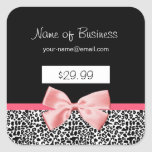 Trendy Black And White Leopard Print Price Tags Square Stickers