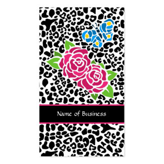 Trendy Black And White Leopard With Pink Roses Pack Of Standard Business Cards