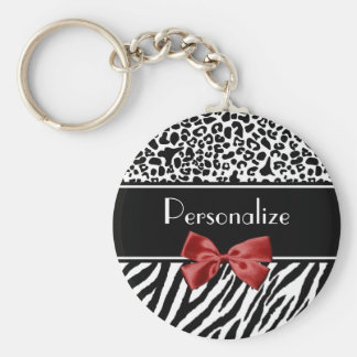 Trendy Black And White Leopard Zebra Print Red Bow Basic Round Button Key Ring