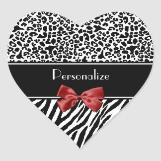 Trendy Black And White Leopard Zebra Red Ribbon Heart Sticker